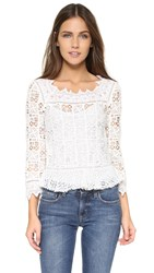 Rebecca Taylor Long Sleeve Crochet Lace Top Off White