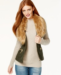 Inc International Concepts Faux Fur Trim Zip Front Vest Only At Macy's Night Moss