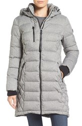 Guess Women's Quilted Hooded Puffer Coat Melange