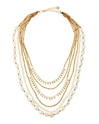 Nakamol Multi Strand Pearl And Golden Bead Necklace White