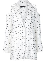 Area Di Barbara Bologna Long Off Shoulder 'Flies' Blazer White