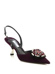 Prada Suede And Patent Leather Buckle Slingback Pumps Purple