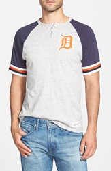 Mitchell Ness 'Detroit Tigers Visiting' Raglan Henley Heather Grey