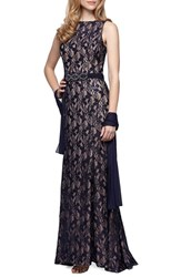 Alex Evenings Women's Embellished Lace Gown And Shawl