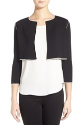 Petite Women's Ellen Tracy Piped Knit Bolero Jacket Black