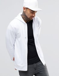 Asos Zip Up Hoodie In White White