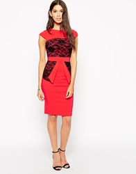 Vesper Poppy Pencil Dress With Lace Panel Detail Melon