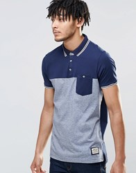 Brave Soul Panel Polo Shirt Navy