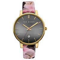 Ted Baker Women's Rose Date Floral Leather Strap Watch Multi Black