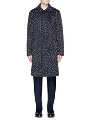 3.1 Phillip Lim Leopard Print Cotton Wool Blend Coat Grey