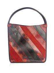 Proenza Schouler Leather And Snakeskin Tote Burgundy Multi