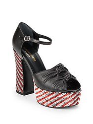Yves Saint Laurent Leather Sequined Platform Sandals Nero