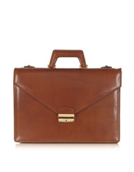 L.A.P.A. Double Gusset Leather Briefcase Brandy Gold