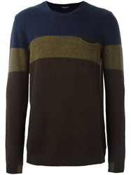 Roberto Collina Contrast Stripes Sweater Brown