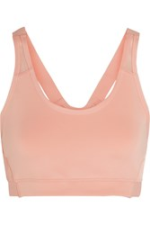 Adidas By Stella Mccartney Mesh Paneled Climalite Stretch Jersey Sports Bra Blush