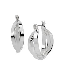 Kenneth Cole Multi Row Silvertone Hoop Earrings 1 In. Grey