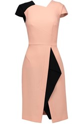 Roland Mouret Browdie Textured Wool Blend And Stretch Knit Dress Neutral