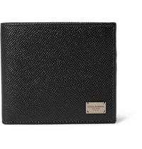 Dolce And Gabbana Pebble Grain Leather Billfold Wallet Black