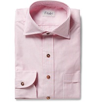 Drakes Red Striped Cotton Shirt