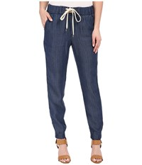 Splendid Faded Pinstripe Pants Dark Wash Women's Casual Pants Navy