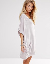 Religion Oversized T Shirt Dress With Metallic Trim On Neck And Pockets H Gray