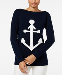 Tommy Hilfiger Mindy Anchor Graphic Sweater Masters Navy Snow White