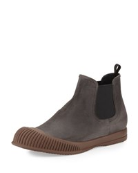 Prada Linea Rossa Mud Guard Suede Chelsea Boot Gray Grey