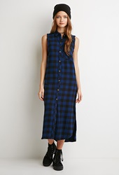 Forever 21 Raw Cut Flannel Shirt Dress Navy Black