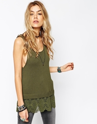 Asos Knitted Vest With Lace Hem Khaki