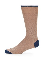 Saks Fifth Avenue Colorblock Cotton Blend Socks Beige Khaki