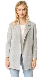 Theory Clairene Double Faced Wool Coat Melange Grey