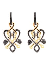 Biba Gold And Black Diamond Heart Twist Drop Earrings Gold