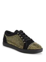 Louis Leeman Crystal Embellished Suede Low Top Sneakers Black Gold