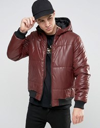 Asos Quilted Bomber Jacket With Hood In Burgundy Burgundy Red