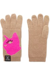 Marc By Marc Jacobs Don't Sweat My Pet Intarsia Merino Wool Gloves Tan