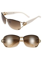 Women's Gucci 62Mm Open Temple Special Fit Rimless Sunglasses Gold White Brown Gradient