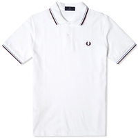 Fred Perry Original Twin Tipped Polo White Ice And Maroon