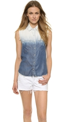Blank Sleeveless Frayed Button Down Radical