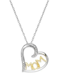 Macy's Diamond Two Tone Mom Heart Pendant Necklace 1 10 Ct. T.W. In Sterling Silver And 18K Gold Plated Sterling Silver