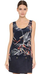 Maiyet High Low Slit Tank Navy Multi