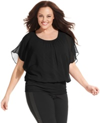 Style And Co. Plus Size Flutter Sleeve Banded Hem Top Deep Black