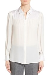 Classiques Entier Shirred Yoke Stretch Silk Blouse Regular And Petite White