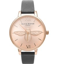 Olivia Burton Animal Motif Leather And Rose Gold Plated Watch