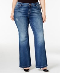 Inc International Concepts Plus Size Indigo Wash Flare Leg Jeans Only At Macy's