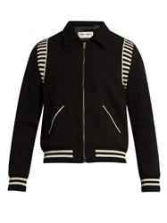 Saint Laurent Point Collar Wool Bomber Jacket Black