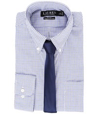 Lauren Ralph Lauren Stretch Poplin Button Down Collar Slim Button Down Shirt White Blue Multi Men's Long Sleeve Button Up
