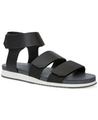 Calvin Klein Men's Colton Tumbled Leather Strap Sandals Men's Shoes Black