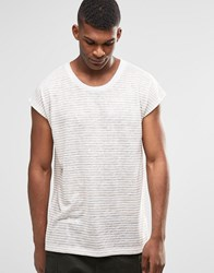Asos Super Longline Oversized Sleeveless T Shirt With Scoop Hem In Linen Look White Tan