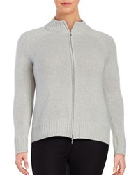 Lord And Taylor Plus Cashmere Zip Front Cardigan Grey