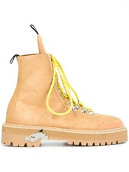 Off White Chunky Sole Mountain Boots Yellow Orange